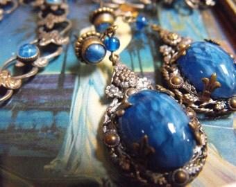 Blue marble glass earrings  Drop earrings blue swirl with silver wash Nouveau earrings