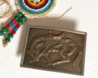 Vintage Nickel Plated and Copper Cowboy Belt Buckle with Horse