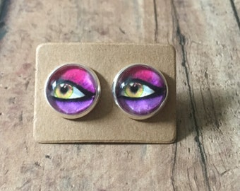 Pink and purple eye studs