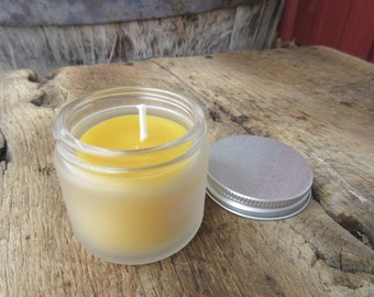 """Beeswax Container Candle- Frosted Glass 2"""" tall"""