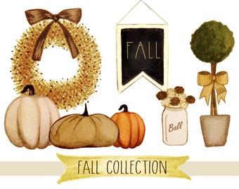 Fall clipart, hand painted fall clipart, thanksgiving clipart, fall digital clipart, fall wreath clipart, pumpkin clipart