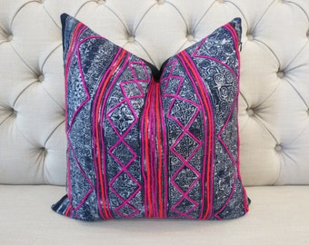 "18""x18"" Vintage batik Hmong Handwoven Hemp Fabric,Scatter cushions, Tribal textiles,Throw Pillow,Decorative cushions"