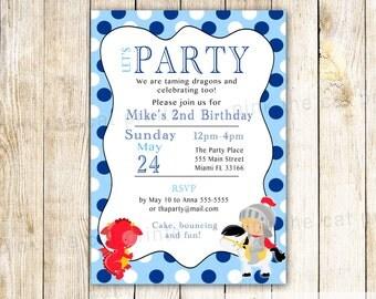 Dragon Knight Invitation - Dragon Birthday Invitation Knight Birthday Card Baby Boy Shower Dragon Knight Baby Shower Navy Blue Red Printable