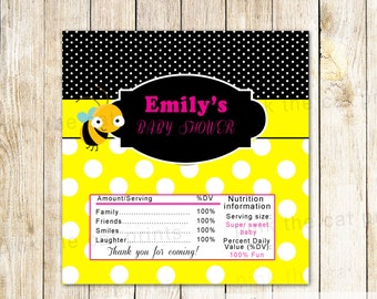 Bee Candy Bar Wrapper Bee Baby Shower Bee Birthday Party Chocolate Labels Bee Favor Labels Gender Reveal Baby Shower Printable File Custom