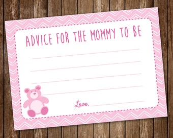 Chevron Advice for Mommy to Be - Girl/Baby Shower/Baby Girl Shower Advice Cards/Pink *Printable*