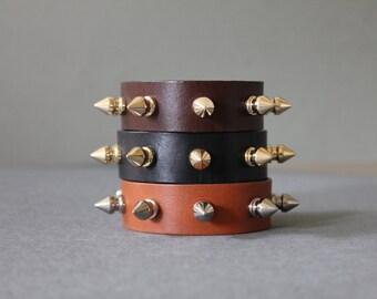 Bullet Stud Leather Bracelet(4 colors)