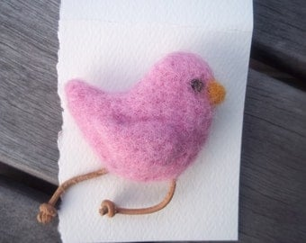 Bird Pin Pink Whimsical Needle Felted
