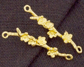 2 of 925 Sterling Silver 24k Gold Vermeil Style Flower Branch Links,Connectors  5x28 mm.  :vm0739