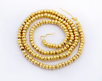 """150 of  Karen hill tribe 24K Gold Vermeil Style Rondelle Solid Seed Beads 1.5 mm. 6.5""""., tiny beads  :vm0772"""