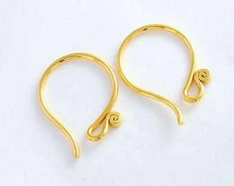 2 pairs of Karen hill tribe Silver 24k Gold Vermeil Style Earwires 18mm.#20. :vm0608