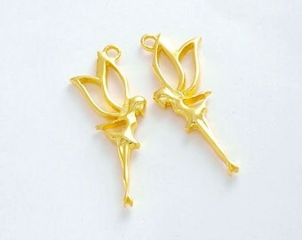 2 of 925 Sterling Silver 24k Gold Vermeil Style Fairy Charms 9x21mm.  :vm0616