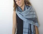 GRAY Blanket scarf,   oversized scarf, Plaid Scarf, Unisex