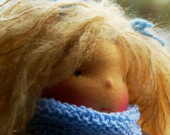 SAlE Iren, Waldorf Inspired Doll, OOAK doll by Atelier Lavendel, Cloth Doll 12 in, Cuddle Doll  soft toy  Eco Friendly