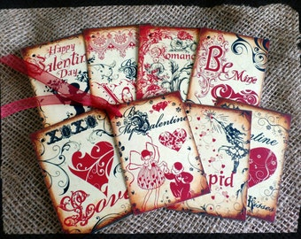 8 Vintage Style Valentines Themed Gift Tags