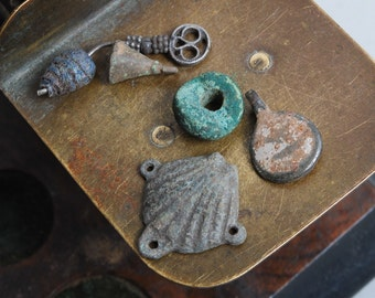 Lot of 5 antique parts, plates, connectors, findings, parts, dark  patina