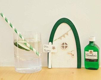 Gin Fairy Door - Gin Lovers Gift, Fairy Door for Grown Ups, Green White & Silver Glitter