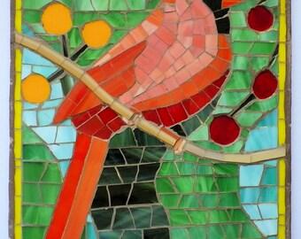 Cardinal Red Bird Resting Mosaic ENABG