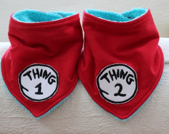 Thing 1 and Thing 2 Baby Bandana Bibs on Red Flannel with a Turquoise Terry Cloth Lining for Thing 1 Baby Thing 2 Twin Dr. Suess Babies