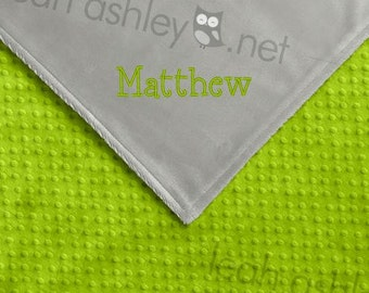Baby Blanket - Lime Green MINKY Dot, Gray MINKY Smooth - Reed - BB1