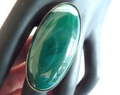 Agate Ring, Big agate ring, big ring, long ring, cabochon ring, green ring, teal green ring, oval ring, gemstone ring, gemstone ring, ring,