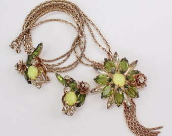 Vintage Juliana D&E STYLE Demi Parure Set Yellow Olivine Green Topaz Glass Rhinestone Flower Goldtone Chain Necklace Clip On Earrings