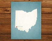 Customized Ohio State Art Print, State Map, Heart, Silhouette, Aged-Look Personalized Print