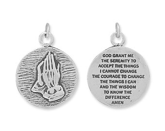 Sterling silver serenity prayer praying hands necklace two sterling silver serenity prayer charm pendant praying hands 2 sided mozeypictures Images