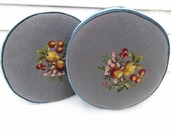 Vintage Couch Pillows | Accent Pillows | Sofa Cushions | Decorative Pillows | Needlepoint Pillows | Round Pillows