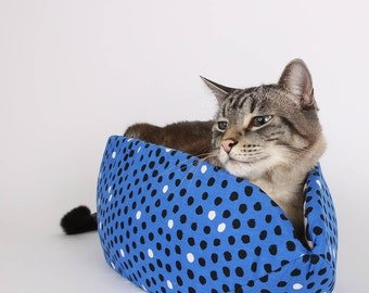Cat Canoe Modern Cat Bed in Blue and Black Polka Dots