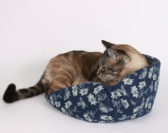 The Cat Canoe a Modern Cat Bed in Navy Blue and Ivory Butterflies