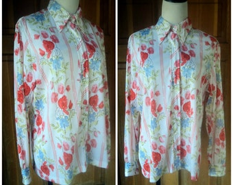 Vintage 60s Vera Blouse Poppies Floral Bright Colors Button up Blouse Water Color Painting 1960s Vera Blouse up to 44 bust