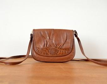 Vintage Crossbody Bag  1970s Shoulder Bag  Purse Brown Faux Leather
