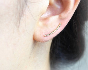 Faceted Curve Bar Ear Climber, ear cuff/ choose your color, gold, silver