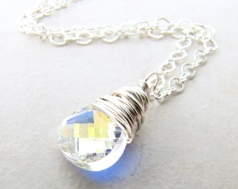 Crystal Necklace, Moonstone Crystal, Fairy Necklace, Crystal Jewelry, Moon stone, Crystal Pendant, Wire Wrapped