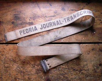 Vintage Newspaper Delivery Route Canvas Carrying Strap - Peoria Journal-Transcript