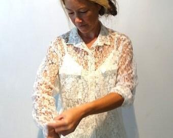 ON SALE Vintage 1970's cream white lace button down shirt sz L
