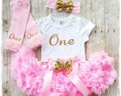 Pink and gold glitter ONE Outfit,Birthday set, Sparkly Glitter ONE outfit with soft chiffon pink pettiskirt and matching leg warmers