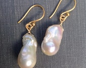 Baroque Pearl Earrings with Wire Wrapping