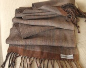Mushroom Brown Handwoven Alpaca, Silk and Bamboo Scarf