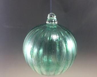 SALE Transparent Dark Green Optic Hand Blown Glass Ornament
