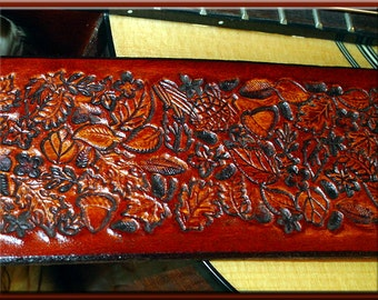 FOREST LEAVES Version 3 Design • A Beautifully Hand Tooled, Hand Crafted Leather Guitar Strap