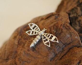 Vintage Sterling Silver 925 Openwork Dragonfly Pin / Brooch (#53)