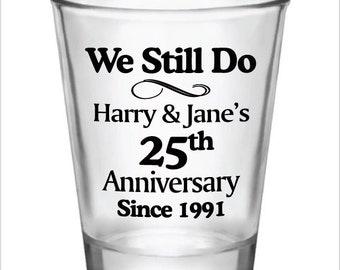 144 Personalized 15oz Glass Shot Glasses 25th Wedding Anniversary Custom Designs Favors