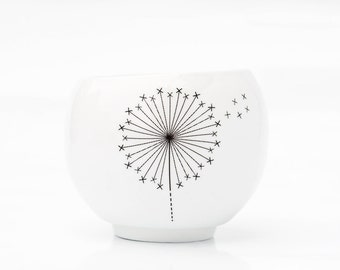Tea Cup with Dandelion, Ceramic Candle Holder, Small Porcelain Cup