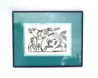 VINTAGE LINOLEUM PRINT/Exotic Original Block Print