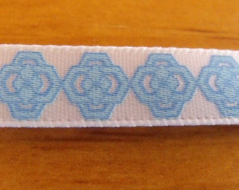 White with Baby Blue Design Ribbon 3 Yards