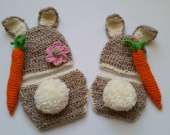 Crochet Cottontail Bunny Set-Infant Beanie-Diaper Cover-Newborn Photography Prop-Baby Bunny Outfit W/Carrot-Boys-Girls-
