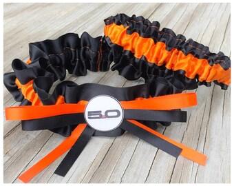 5.0 Ford Mustang Bridal Satin Wedding Garter Black & Orange Keepsake Or Garter SET Truck Car Garter
