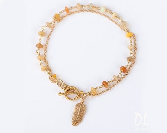 Feather Charm Bracelet - Opal Bracelet - Friendship Bracelet - Wire wrapped Toggle Bracelet - Layering Bracelet - Gift for her