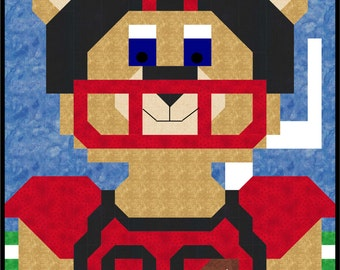 Football Bear Mascot Quilt Pattern with multiple sizes Wall to Lap
